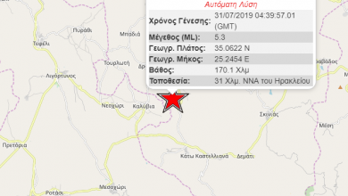 Photo of Ισχυρός σεισμός μεγέθους 5,3 Ρίχτερ σημειώθηκε το πρωί σήμερα 31/07 στην Κρήτη στις 07:39.