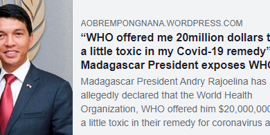 Photo of Ο Π.Ο.Υ προσπάθησε να εξαγοράσει τον Πρόεδρο Μαγαδασκάρης για τα εμβόλια