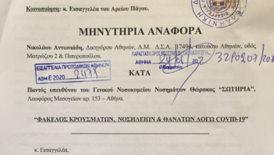Photo of Μήνυση για τους δήθεν θανάτους από Κορωνοιό