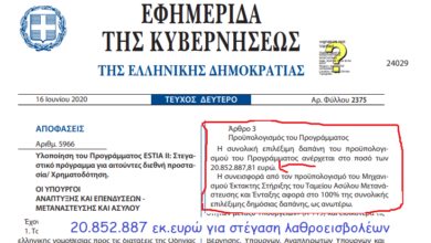 Photo of Στην ΠΕΙΝΑ οι Ελληνες και 20.852.887 εκ.ευρω για στέγαση Λαθροεισβολέων + εξτρα!!!!